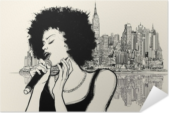 afro american jazz singer Self-Adhesive Poster