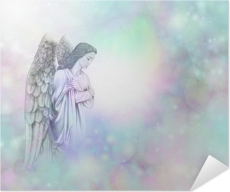 Angel on soft misty bokeh frame background Self-Adhesive Poster