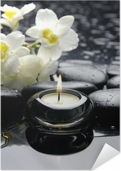 aromatherapy candle and zen stones with branch white orchid Self-Adhesive Poster