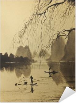 Asian mountains and lake Self-Adhesive Poster