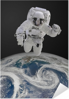 Astronaut in outer space Self-Adhesive Poster