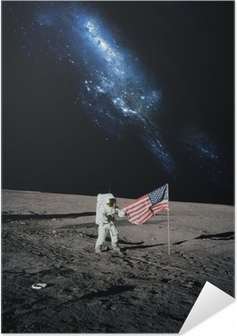 Astronaut walking on moon. Elements of this image furnished by N Self-Adhesive Poster