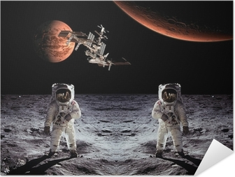 Astronauts Spaceman Moon Planets Self-Adhesive Poster