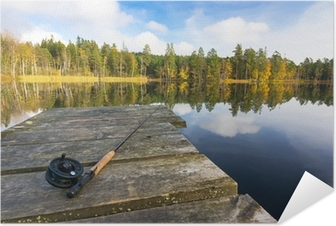 Autumn fly fishing in the lake Self-Adhesive Poster