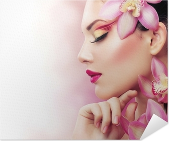 Beautiful Girl With Orchid Flowers. Perfect Make-up Self-Adhesive Poster