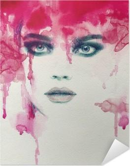 Beautiful woman. watercolor illustration Self-Adhesive Poster