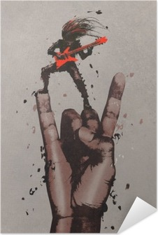 big hand in rock n roll sign with guitarist,illustration painting Self-Adhesive Poster