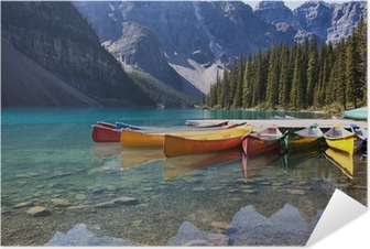 Canoes on Moraine Lake Self-Adhesive Poster