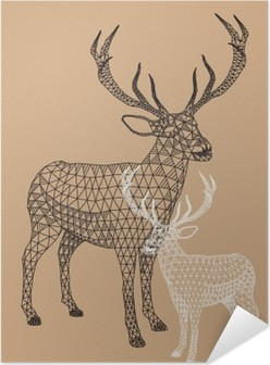 Christmas reindeer with geometric pattern, vector Self-Adhesive Poster