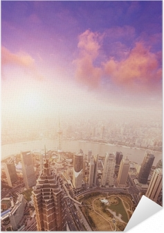 cityscape of shanghai, misty and cloudy Self-Adhesive Poster