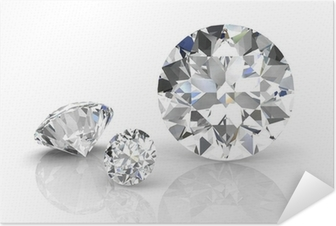 diamond jewel on white background. High quality 3d render Self-Adhesive Poster