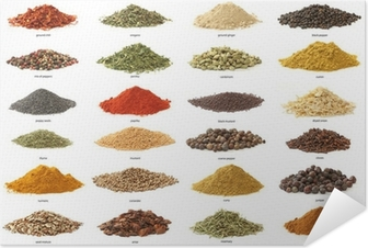 Different spices isolated on white background. Large Image Self-Adhesive Poster