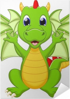 Dragon cartoon Self-Adhesive Poster