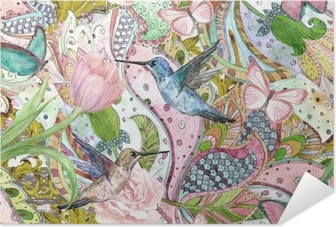 fashion seamless texture with ethnic floral ornament and hummingbirds. watercolor painting Self-Adhesive Poster