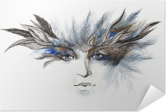 feathers around eyes (series C) Self-Adhesive Poster