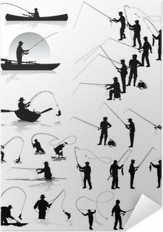 Fisherman vector silhouettes Self-Adhesive Poster