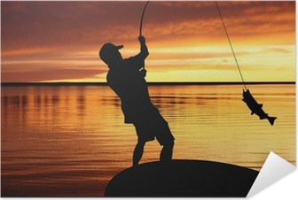 fisherman with a catching fish on sunrise background Self-Adhesive Poster