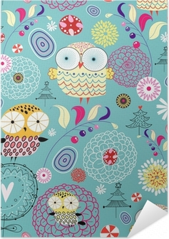 flower texture with owls Self-Adhesive Poster