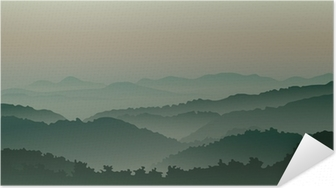 Green mountains in fog Self-Adhesive Poster