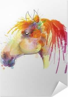 Horse head watercolor painting Self-Adhesive Poster