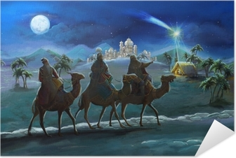 Illustration of the holy family and three kings Self-Adhesive Poster