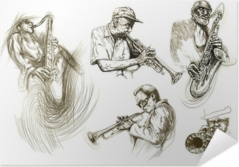 jazz men (hand drawing collection of sketches) Self-Adhesive Poster