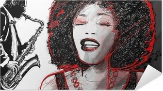 jazz singer and saxophone Self-Adhesive Poster