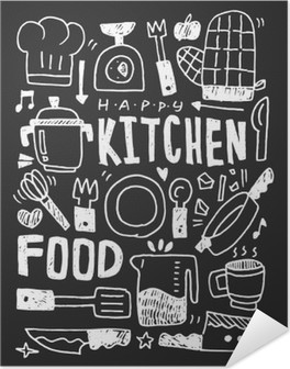 Kitchen elements doodles hand drawn line icon,eps10 Self-Adhesive Poster