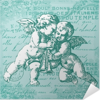 Les anges bleus Self-Adhesive Poster