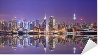 Manhattan Skyline with Reflections Self-Adhesive Poster