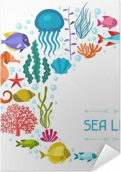 Marine life background design with sea animals. Self-Adhesive Poster