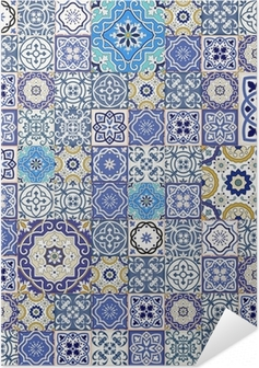 Mega seamless patchwork pattern from colorful Moroccan tiles Self-Adhesive Poster