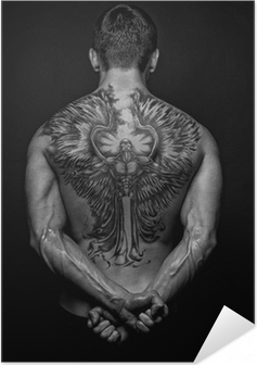 Moael with angel tattoo Self-Adhesive Poster