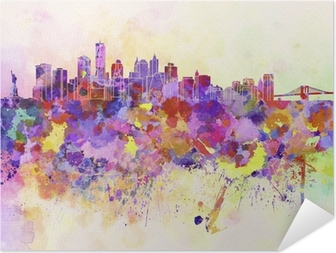 New York skyline in watercolor background Self-Adhesive Poster
