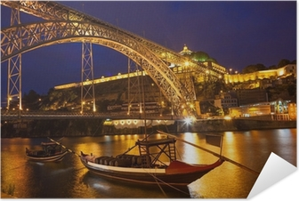 Night view of a bridge in Portugal Self-Adhesive Poster