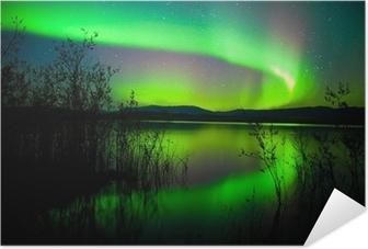 Northern lights mirrored on lake Self-Adhesive Poster