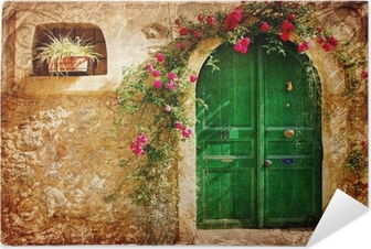 old Greek doors - retro styled picture Self-Adhesive Poster