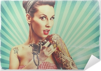 Pin-Up girl with tattoos Self-Adhesive Poster