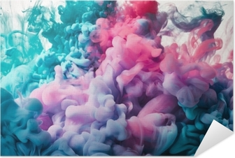 Pink and blue paint splash Self-Adhesive Poster