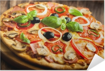 Pizza with Mushrooms, Salami and Chili Pepper Self-Adhesive Poster