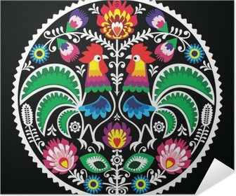 Polish floral embroidery with roosters - traditional folk Self-Adhesive Poster