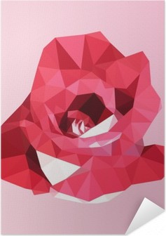 polygonal red rose. poly low geometric triangle flower vector Self-Adhesive Poster