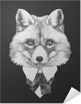 Portrait of Fox in suit. Hand drawn illustration. Self-Adhesive Poster