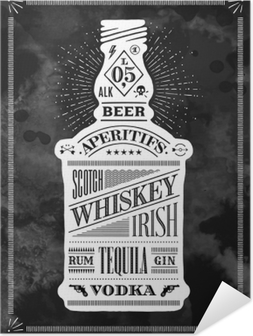 Poster bottle of alcohol with hand drawn lettering Self-Adhesive Poster
