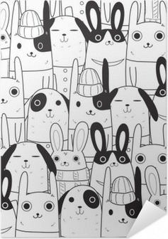 rabbit seamless pattern Self-Adhesive Poster