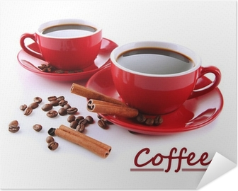 Red cups of strong coffee and coffee beans isolated on white Self-Adhesive Poster