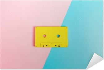 Retro cassette tapes on bright background Self-Adhesive Poster