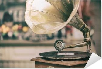 Retro old gramophone radio. Vintage style toned photo Self-Adhesive Poster