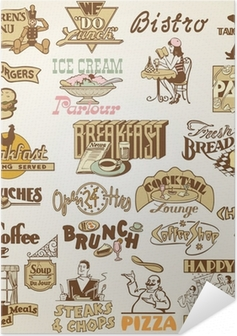 Retro vintage labels restaurant, set of various food themes Self-Adhesive Poster