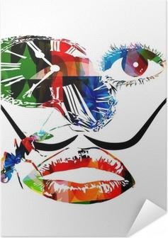 Salvador Dali inspired artwork vector Self-Adhesive Poster